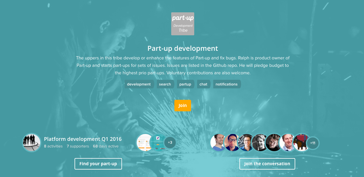 Part-up release: Slick landing page for tribes