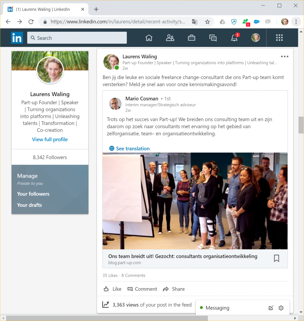 Social media post Part-up zoekt collega